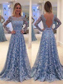 Prinzessin Langärmeliges Normale Taille A-Line Abendkleid mit Bordüre – MeKleid.de