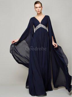Robe de bal longue avec zip de col en v de princesse ligne a – GoodRobe