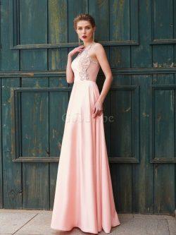 Robe de bal naturel avec perle jusqu'au sol manche nulle de princesse – GoodRobe