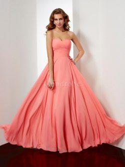 Robe de soirée avec chiffon avec zip col en forme de cœur avec fronce de princesse – GoodRobe