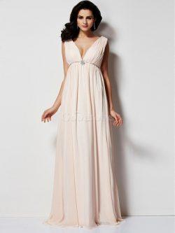 Robe de soirée plissé manche nulle v encolure de princesse sans dos – GoodRobe