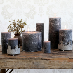 RUSTIC 3 WICK CANDLE | DARK GREY