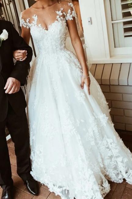 Brautkleider mit Spitze | Hochzeitskleider A Linie Mit Ärmel