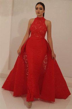 Schöne Abendkleider Lang Rot | Abiballkleider Spitze Günstig