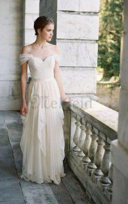 A-Line Elegantes Informelles Brautkleid mit Kreuz mit Rüschen – MeKleid.de