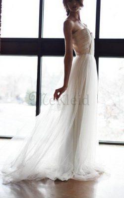 A-Line Natürliche Taile Herz-Ausschnitt Ärmellos Bodenlanges Brautkleid – MeKleid.de