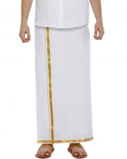 Fixit Single White Jari – Free Size Pocket Dhoti
