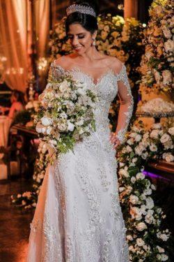 Luxus Brautkleider mit Ärmel | Hochzeitskleider A Linie Spitze