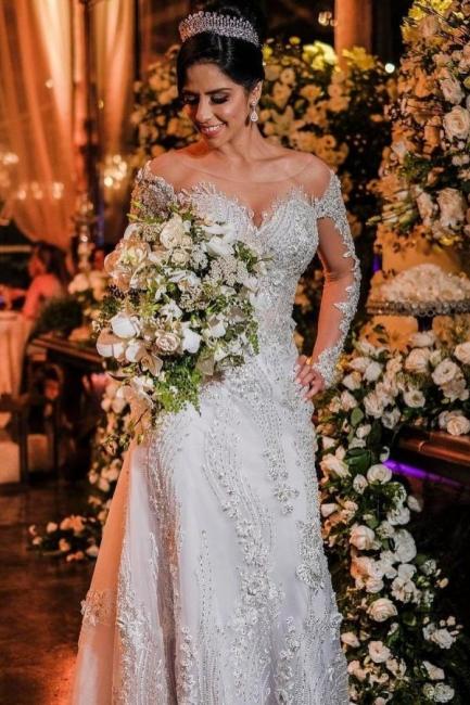 Luxus Brautkleider mit Ärmel   Hochzeitskleider A Linie Spitze