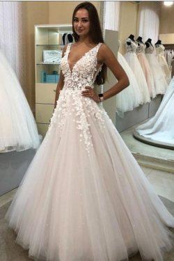 Brautkleider V Ausschnitt | Hochzeitskleider A Linie Spitze