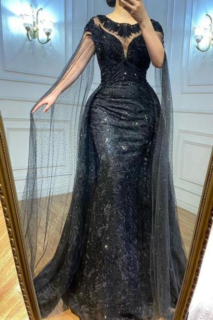 Elegante Abendkleider Lang Schwarz   Abiballkleider mit Glitzer