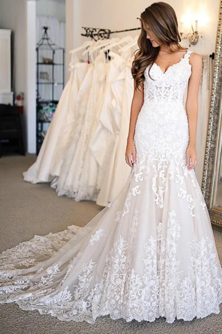 Elegante Hochzeitskleider Meerjungfrau Spitze | Brautkleider Online Kaufen