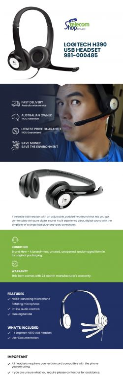 Buy Logitech H390 USB Headset 981-000485 from The Telecom Shop PTY Ltd