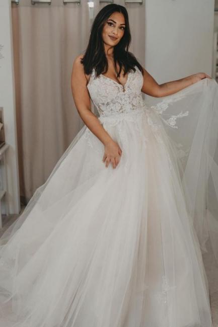 Elegante Brautkleider Tüll | Hochzeitskleider A Linie Spitze