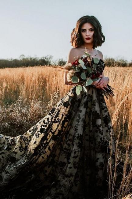 Elegante Brautkleider A Linie Spitze | Schwarze Hochzeitskleider Günstig