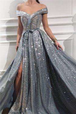 Silber Abendkleider Lang Günstig | Abiballkleider Abendmoden Online