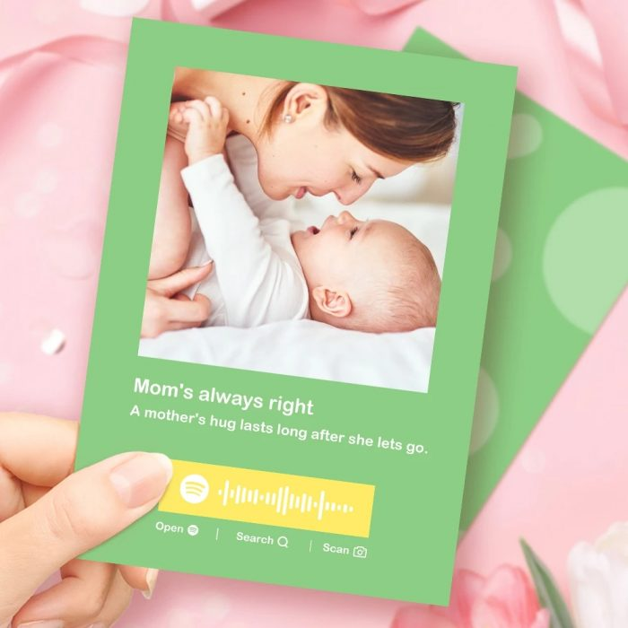 Mother's Day Gift Custom Spotify Code Music Greeting Card Multiple Colors Cards Custom Pho ...