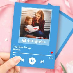 Mother's Day Gift Custom Spotify Code Music Greeting Card with Your Photo Custom Album Pho ...