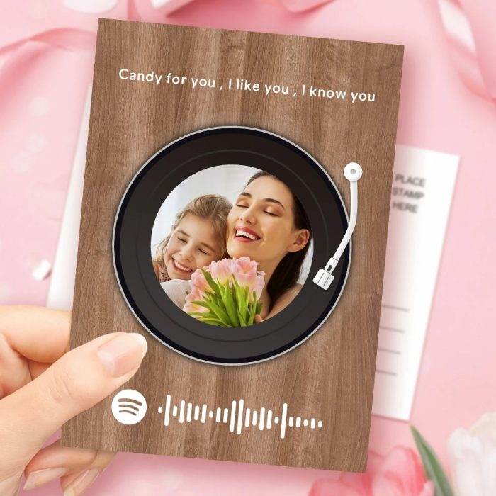Mother's Day Gift Custom Spotify Code Music Greeting Card Record Player Style Custom Text Card