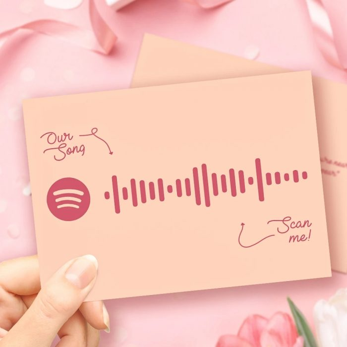 Mother's Day Gift Custom Spotify Code Music Greeting Card with Our Song Custom Word Card