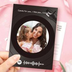 Mother's Day Gift Custom Spotify Code Music Greeting Card Vinyl Record Style Custom Text Card