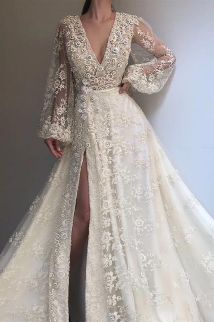 Abendkleid Lang V Ausschnitt | Abiballkleider Weiß Günstig