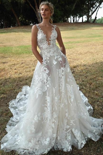 Wunderschöne Brautkleider A Linie Spitze   Hochzeitskleider Boho