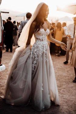 Elegante Hochzeitskleider Boho | Brautkleider A Linie Spitze