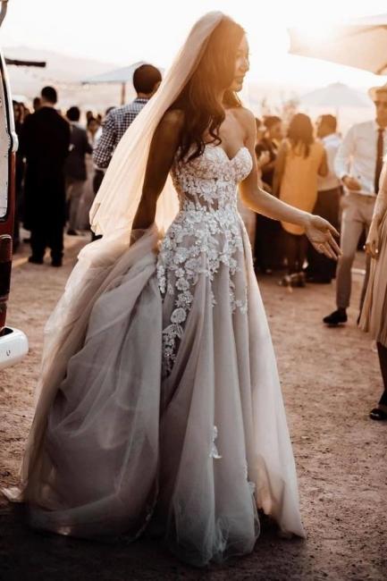 Elegante Hochzeitskleider Boho   Brautkleider A Linie Spitze