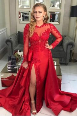 Abiballkleider Lang Rot | Abendkleider mit Ärmel