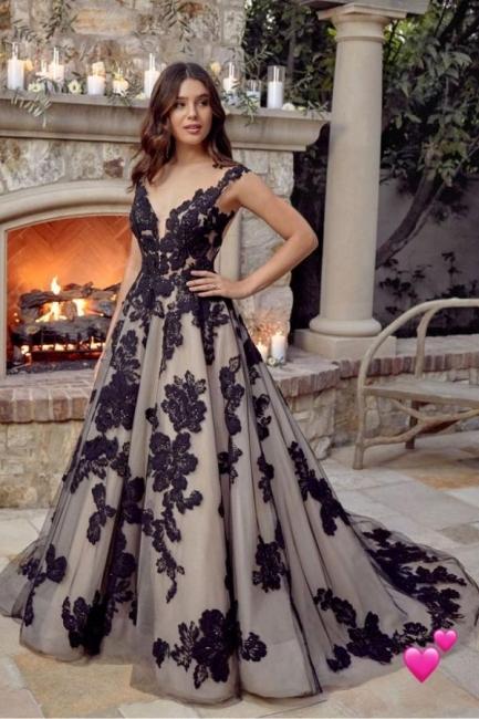 Schwarze Brautkleider A Linie Spitze | Hochzeitskleider Günstig Kaufen