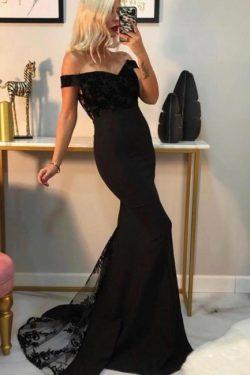 Abendkleid Lang Schwarz | Abiballkleider mit Spitze