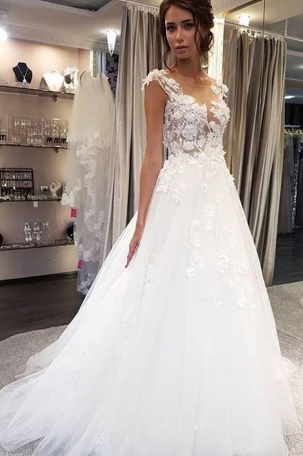 Schöne Brautkleider A Linie   Tüll Hochzeitskleider mit Spitze