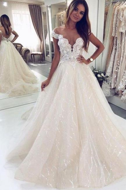 Brautkleider Glitzer   Hochzeitskleider A Linie Spitze