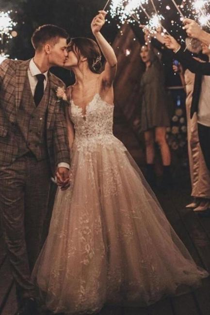 Wunderschöne Brautkleid A Linie Spitze | Hochzeitskleider Tüll