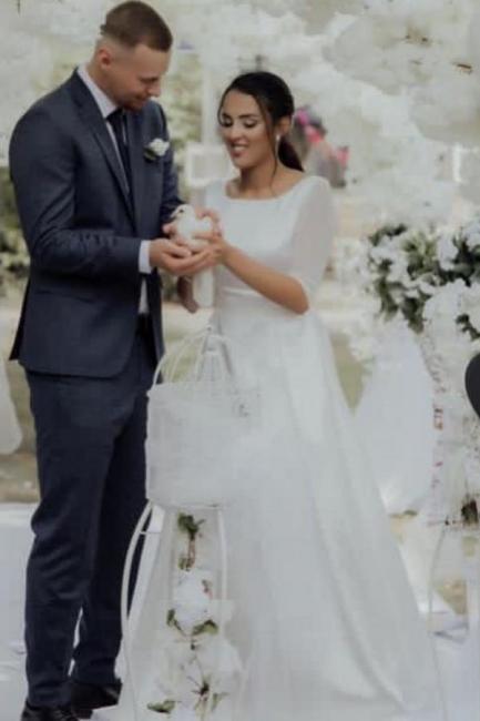 Schlichtes Hochzeitskleid A Linie | Brautkleider mit Ärmel