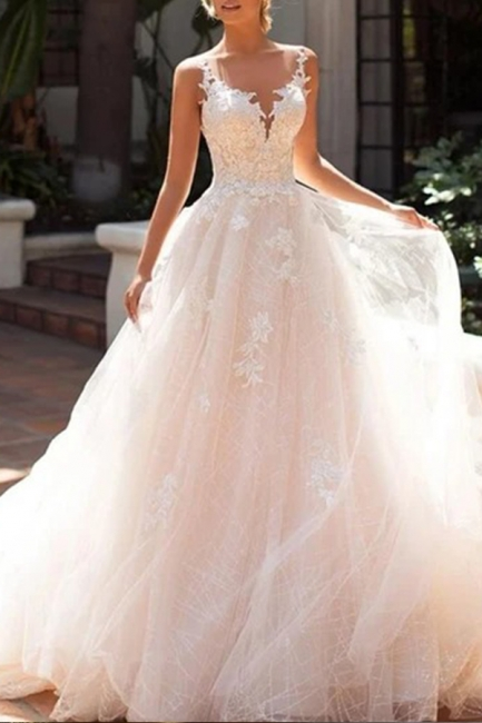 Schicke Brautkleider A Linie | Hochzeitskleider Spitze Günstig