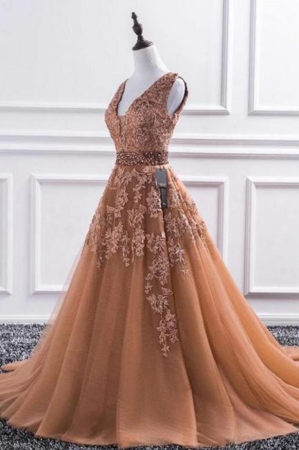 Elegante Abendkleid Lang V Ausschnitt   Ballkleider mit Spitze