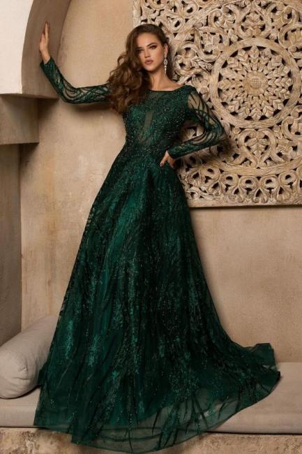 Elegante Abendkleider Lang Grün | Abiballkleider Glitzer mit Ärme