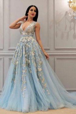 Abendkleider Lang v Ausschnitt | Abiballkleider Ballkleider Blau