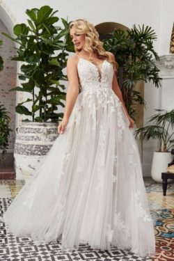 Schlichtes Hochzeitskleid A Linie Spitze | Brautmoden Günstig