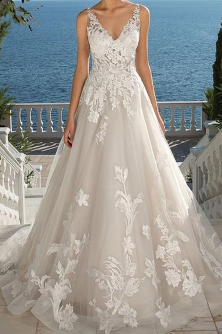 Designer Brautkleid A linie Spitze | Hochzeitskleider Günstig