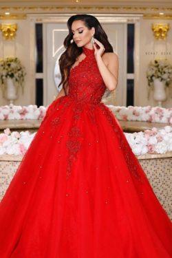 Ballkleider Rot | Abendkleider Lang Spitze