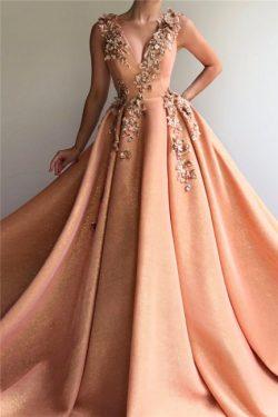 Elegante Abendkleider Lang V Ausschnitt | Abiballkleider Glitzer