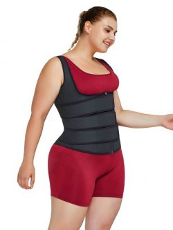 FeelinGirl Plus Size Latex Waist Trainer Vest with Three Belts