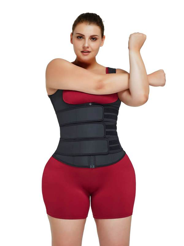 FeelinGirl Plus Size Latex Waist Trainer Vest with Three Belts