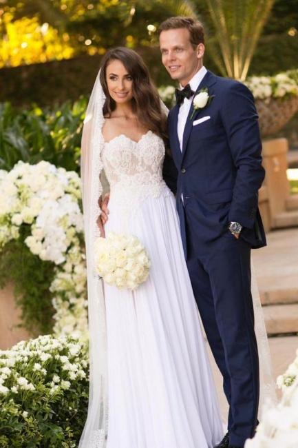 Schlichtes Hochzeitskleid Mit Spitze   Chiffon Brautkleider