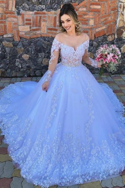 Designer Brautkleider Mit Ärmel   Hochzeistkleider Tüll mit Spitze