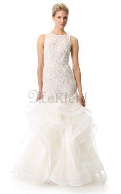 Gerüschtes Bodenlanges Sittsames Brautkleid mit Bordüre mit Bootsförmiger Ausschnitt – MeK ...