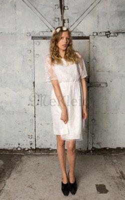 Juwel Ausschnitt Reißverschluss Kurzes Brautkleid mit Rüschen mit Bordüre – MeKleid.de